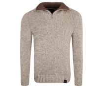 Pullover, Baumwolle, Klappkragen, Emblem, Beige