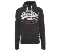 Sweatshirt, Kapuze, Logo-Print, breiter Bund, Schwarz