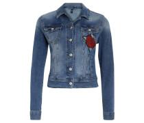Jeansjacke, Blumen-Aufnäher, Rückenpasse, Badge, Blau