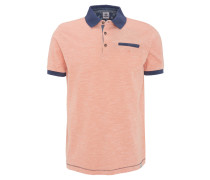 Poloshirt, Melange, abgesetzter Kragen, Orange
