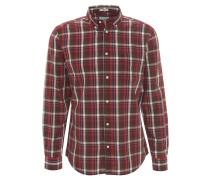 Freizeithemd, kariert, Brusttasche, Button-Down-Kragen, Rot