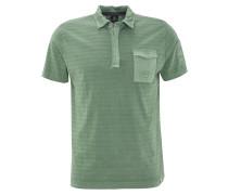 Poloshirt, Streifen-Struktur, Brusttasche, Grün