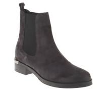 Chelsea Boots, Veloursleder, metallisches Fersen-Detail, Grau