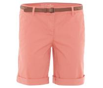 Bermuda-Shorts, Chino-Stil, uni, Kunstleder-Gürtel, Apricot