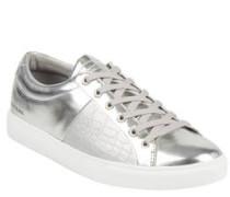 Sneaker, Metallic-Look, Reptil-Prägung