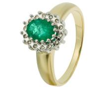 Diamant-Ring Gelbgold 375 Smaragd, zus. 0,08 ct