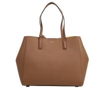 Shopper, Saffianoleder, Extra-Tasche, Braun