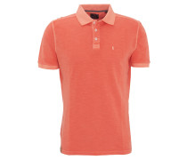 Poloshirt, Flammgarn, Logo-Stickerei, dezenter Used-Look, Orange