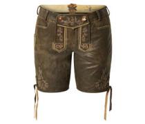 Trachten-Shorts, glattes Nubuk-Leder, Stickereien
