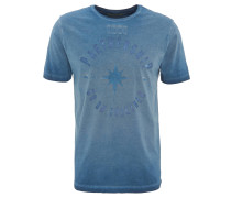 T-Shirt, Washed-Out-Optik, Front-Print, Baumwolle, Blau