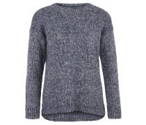 Pullover, Grobstrick, Baumwoll-Mix, weich, meliert, Blau