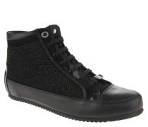 Sneaker, hoher Schaft, Leder, Strass-Besatz, Schwarz