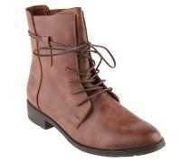 Boots, Used-Look, Kunstleder, Schnürung, Braun