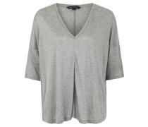 Shirt, 3/4-Ärmel, Melange, V-Ausschnitt, Grau