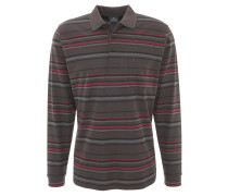 Poloshirt, Langarm, gestreift, Brusttasche, Grau