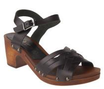 Sandalen, Leder, Holz, Blockabsatz, Schwarz