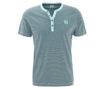 T-Shirt, gestreift, Rundhalsausschnitt, Knopfleiste, Baumwolle, Grün