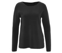 Pullover, unifarben, Material-Mix, Schwarz