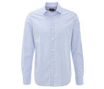 Hemd, reine Baumwolle, Haifisch-Kragen, Blau