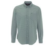 Freizeithemd, gemustert, Button-Down-Kragen, Logo-Stickerei, Grün
