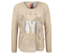 Pullover, Loose Fit, Glitzer-Print, Strass, Beige