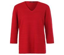 Pullover, V-Ausschnitt, Streifen-Struktur, Rot