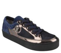 Sneaker, Wildleder, Metallic-Optik, breite Sohle, Blau