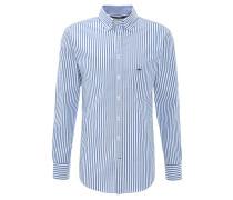 Businesshemd, gestreift, Button-Down-Kragen, Blau