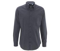 Freizeithemd, Baumwolle, Brusttasche, geometrisches Muster, Blau