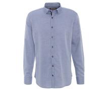 Freizeithemd, feines Rauten-Muster, Button-Down-Kragen, Blau