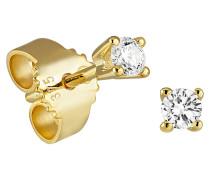 Ohrstecker mit Diamanten, Gelbgold 375, 0,12 ct.