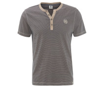 T-Shirt, gestreift, Rundhalsausschnitt, Knopfleiste, Baumwolle, Beige