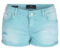 Shorts, Denim, Destroyed-Stil, gekrempelte Beinsäume, Grün