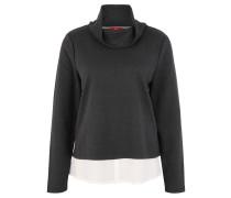 Sweatshirt, Materialkontrast, Fischgrätmuster, Grau