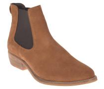 Chelsea Boots, Veloursleder, Holz-Optik, Braun