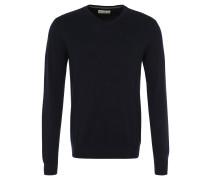 Pullover, Strick, V-Ausschnitt, reine Baumwolle, Blau