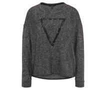 Sweatshirt, meliert, Pailletten, Rundhalsausschnitt, Schwarz
