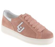 Sneaker, Rauleder, Loch-Muster, Metallic-Ferse, Rosa
