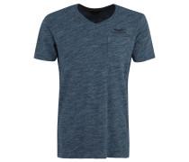 T-Shirt, V-Ausschnitt, meliert, Stickerei, Blau