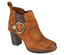 Ankle Boots, Verloursleder, Schnalle, Fersenlasche, Braun