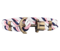 Ankerarmband PHREP Messing Nylon Marineblau-Rosa-Weiss 18 cm