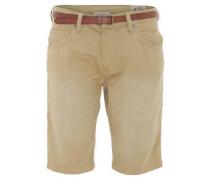 Bermuda-Shorts, Gürtel, Knopfleiste, regular fit, Knitter-Optik