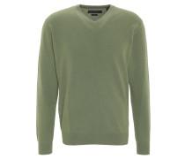 Pullover, Kaschmir, V-Ausschnitt, Rippbündchen, Grün