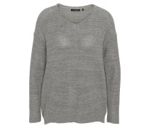 Pullover, Strick, V-Ausschnitt, meliert, Rollsaum