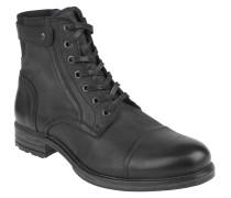 Stiefel, Schnürung, Biker-Stil, Leder, Reißverschluss