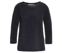 Pullover, strukturiertes Streifenmuster, Glitzergarn, Blau