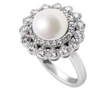 Bridal Ring Muschelkernperle und weißen Zirkonia-Steinen platinum plated