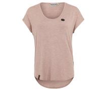 T-Shirt, meliert, Kunstleder-Details, Rosa