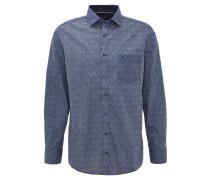 Hemd, Comfort Fit, Brusttasche, Punkte-Muster, Blau