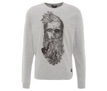 "Sweatshirt ""Jebi"", meliert, Front-Print, Rippbund, Baumwoll-Mix, Grau"